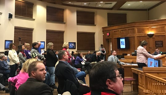 Jannelle Cain speaks to the Sioux Falls City Council during a hearing on vacating Elmwood Avenue near Lifescape's campus in central Sioux Falls during a meeting Tuesday, Feb. 12, 2019, that lasted more than four hours. In all, 48 members of the public and Lifescape employees testified in regard to the street vacation request, which failed to earn the necessary six votes to pass.