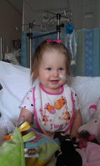Lyla Valentine received a heart transplant in her first year of life. This photo is toward the end of her stay at St. Louis Children's Hospital. She had a feeding tube because she was not eating enough.