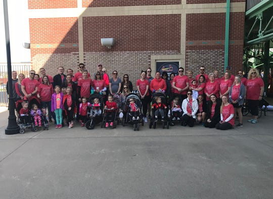 "The ""Team Valentine"" for the American Heart Association's Heart Walk 2018 including a huge turnout from family and friends of Rocky and Breanna Valentine."