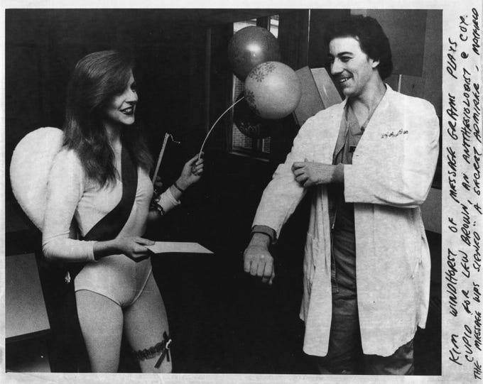"""Kim Windhorst of Message Grams plays cupid for Lew Brown, an anesthesiologist at Cox in 1982. The message was signed """"A secret admirer."""""""