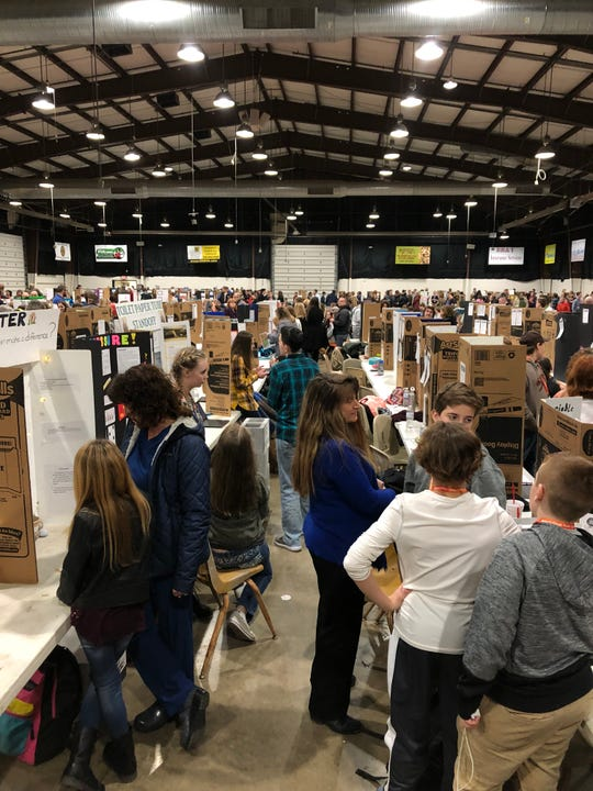 Students present their projects at the 2019 Augusta County STEM Expo on Feb. 12, 2019.