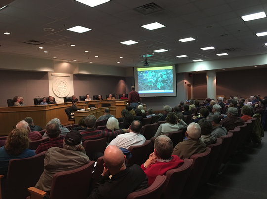 A packed room of residents listened in on the arguments for and against on allowing a solar facility to be built in Augusta County.