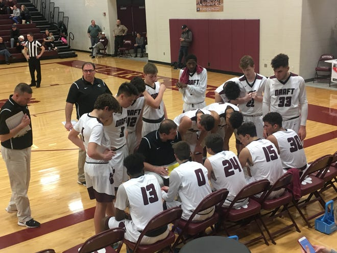 Stuarts Draft coach Mike Gale talks with his team during Tuesday's win over Riverheads.