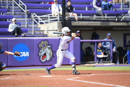 Kate Gordon, who played high school ball for Page County, returns for her junior season with JMU after hitting .400 with 50 RBIs last year.