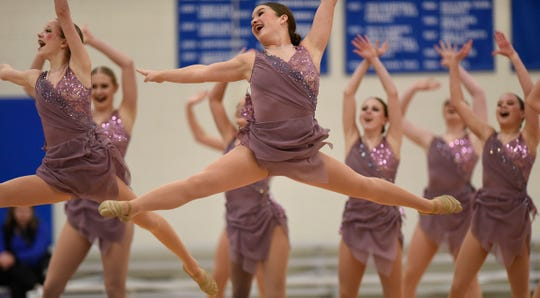 Sartell Sabres Dance Team members perform during the Central Lakes Conference Dance Team Championship Friday, Jan. 11, at Apollo High School in St. Cloud.