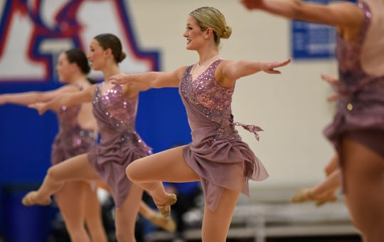 Sartell Sabres Dance Team members compete in the Jazz portion of the Central Lakes Conference Dance Team Championship Friday, Jan. 11, at Apollo High School in St. Cloud.