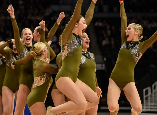 Sartell Dance Team members celebrate their third-place finish during Minnesota State Dance Team Class 2A Jazz finals Friday, Feb. 16, 2018, at the Target Center in Minneapolis.