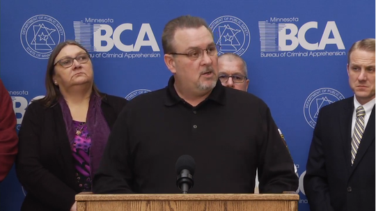 Rich Rieken, the youngest of Gloria's siblings, speaks on behalf of the family at Wednesday's press conference in St. Paul, Feb. 13, 2019.
