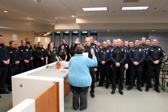 MaQuade Chesley sworn in as new Mesquite police chief at Mesquite City Hall on Feb. 12, 2019.