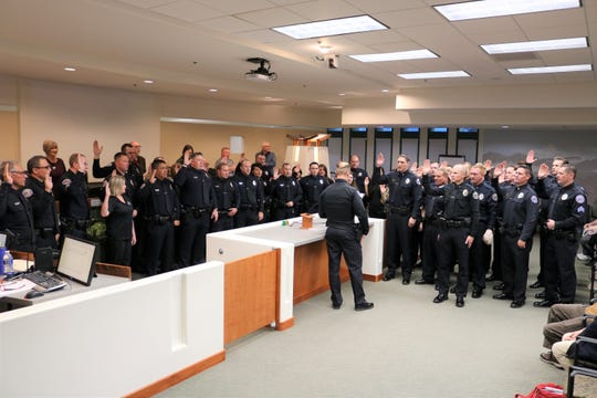 New Mesquite police chief MaQuade Chesley reaffirms the oath of office for employees of the Mesquite Police Department at Mesquite City Hall on Feb. 12, 2019.