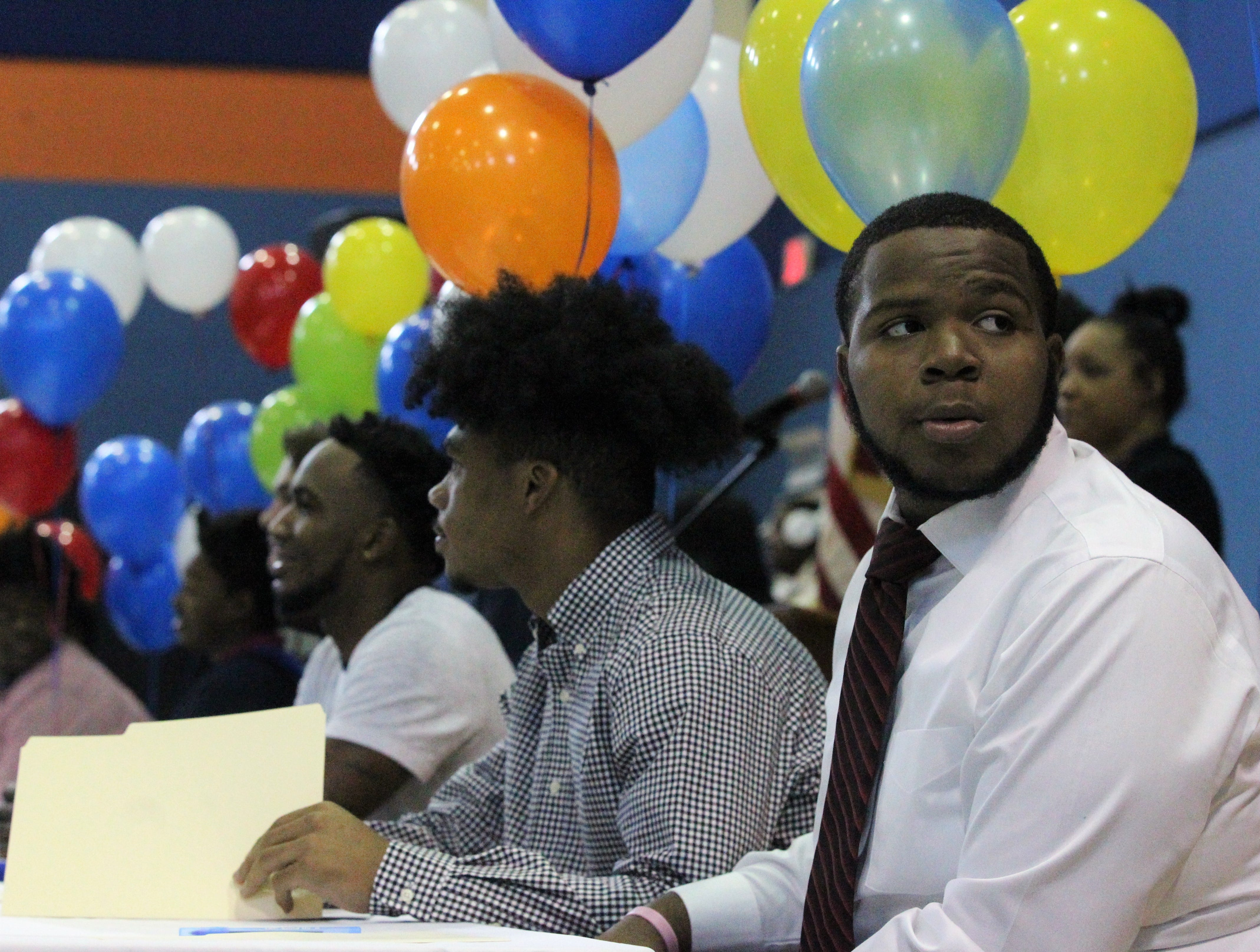 Jefferson County lineman Amantez Ford looks around before Jefferson County's signing day ceremony on Feb. 13, 2019.