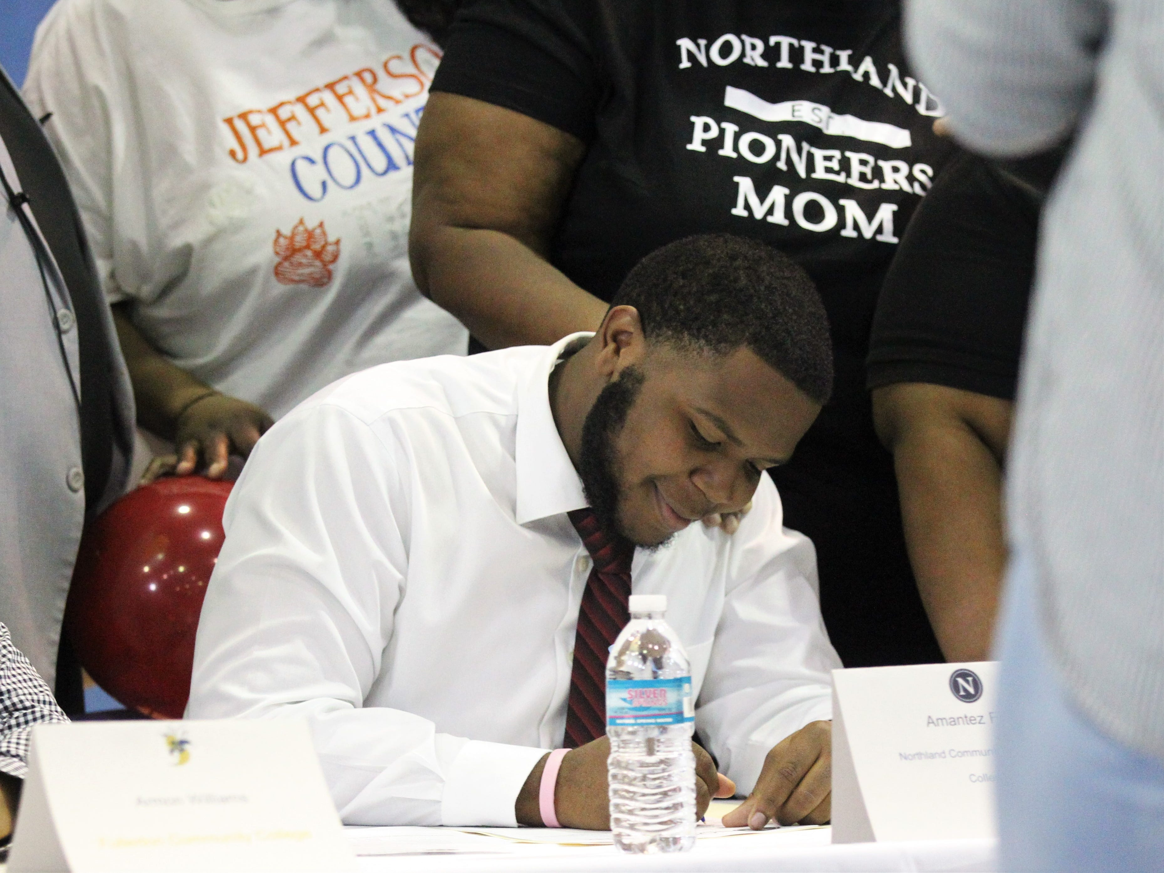 Jefferson County lineman Amantez Ford signed with Northland College during Jefferson County's signing day ceremony on Feb. 13, 2019.