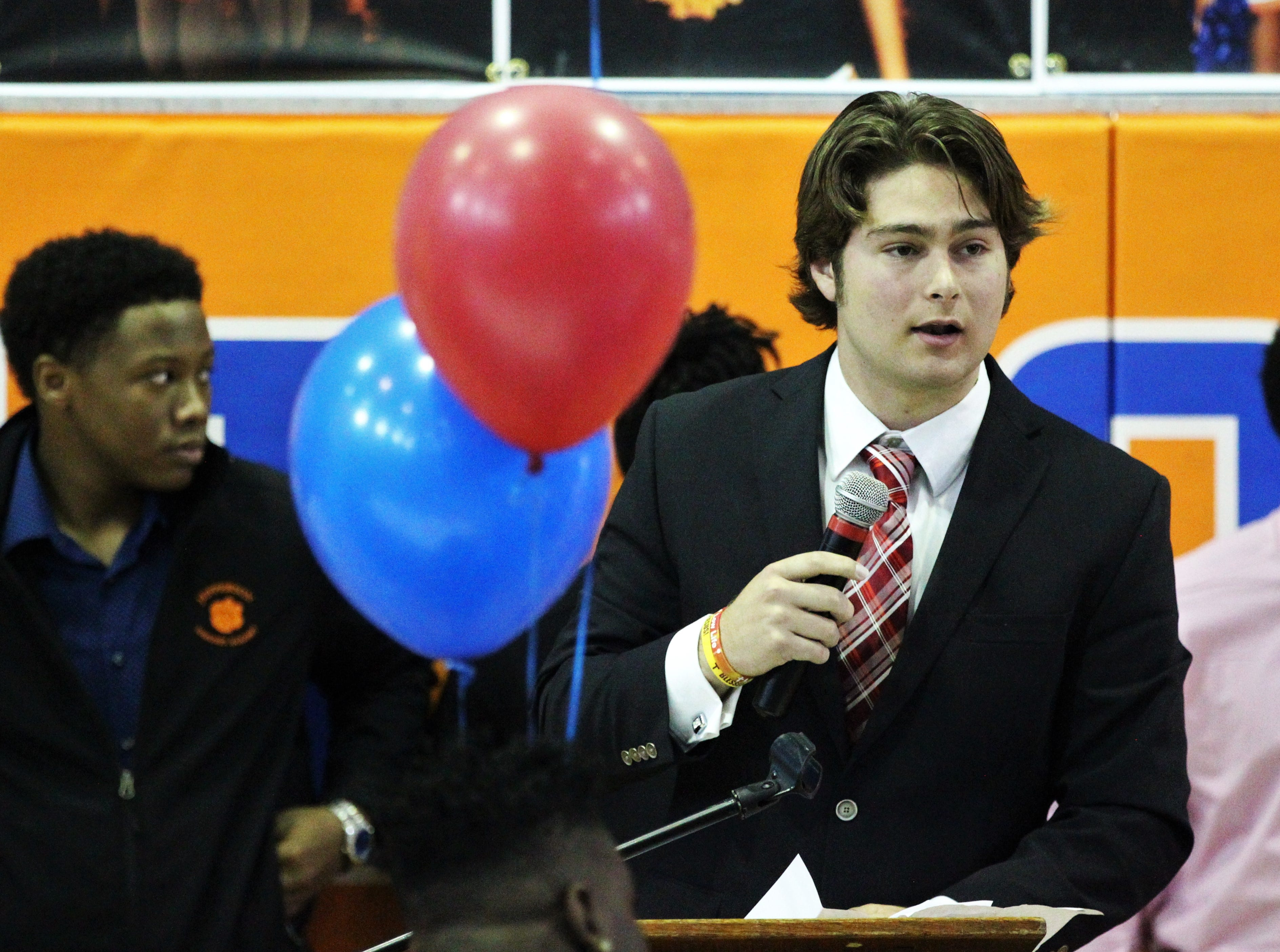 Jefferson County quarterback Josh Aiken, who signed with Huntingdon College, speaks during Jefferson County's signing day ceremony on Feb. 13, 2019.