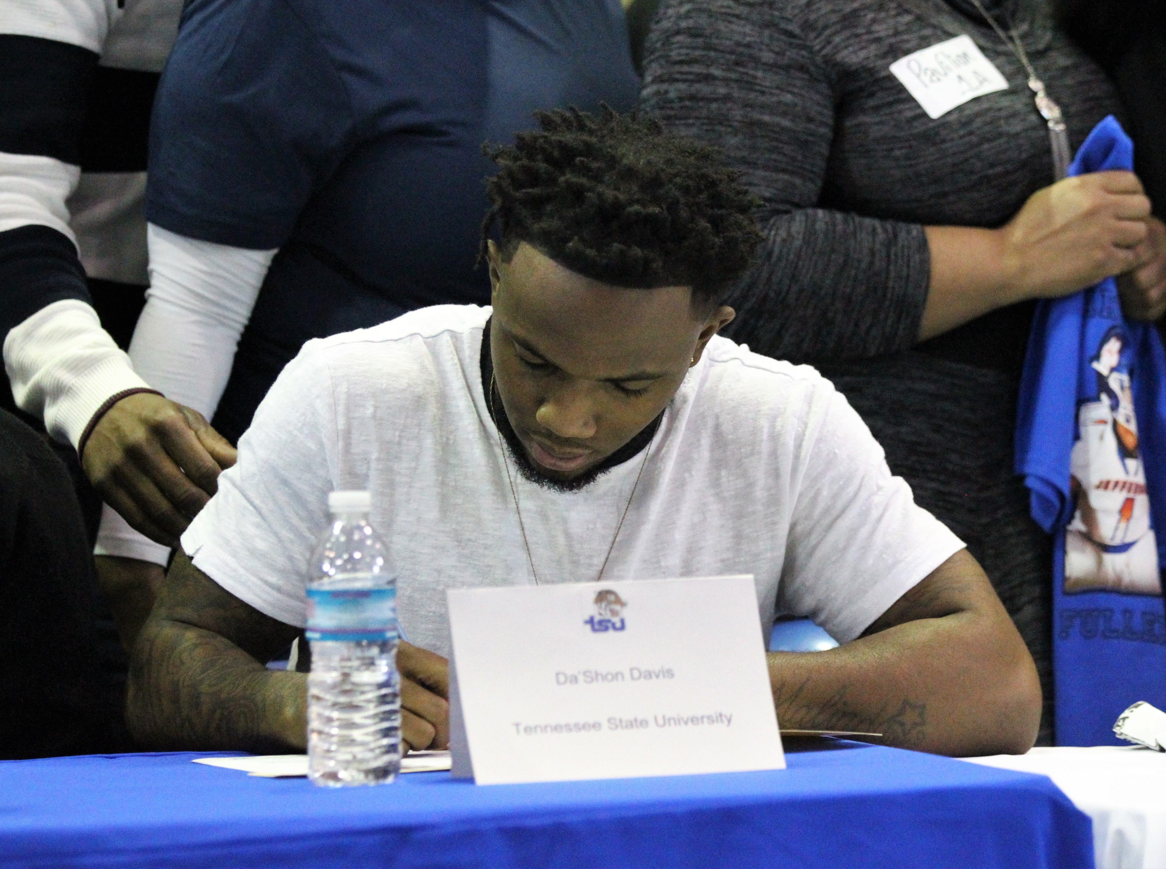 Jefferson County senior receiver Da'Shon Davis signed with Tennessee State during Jefferson County's signing day ceremony on Feb. 13, 2019.