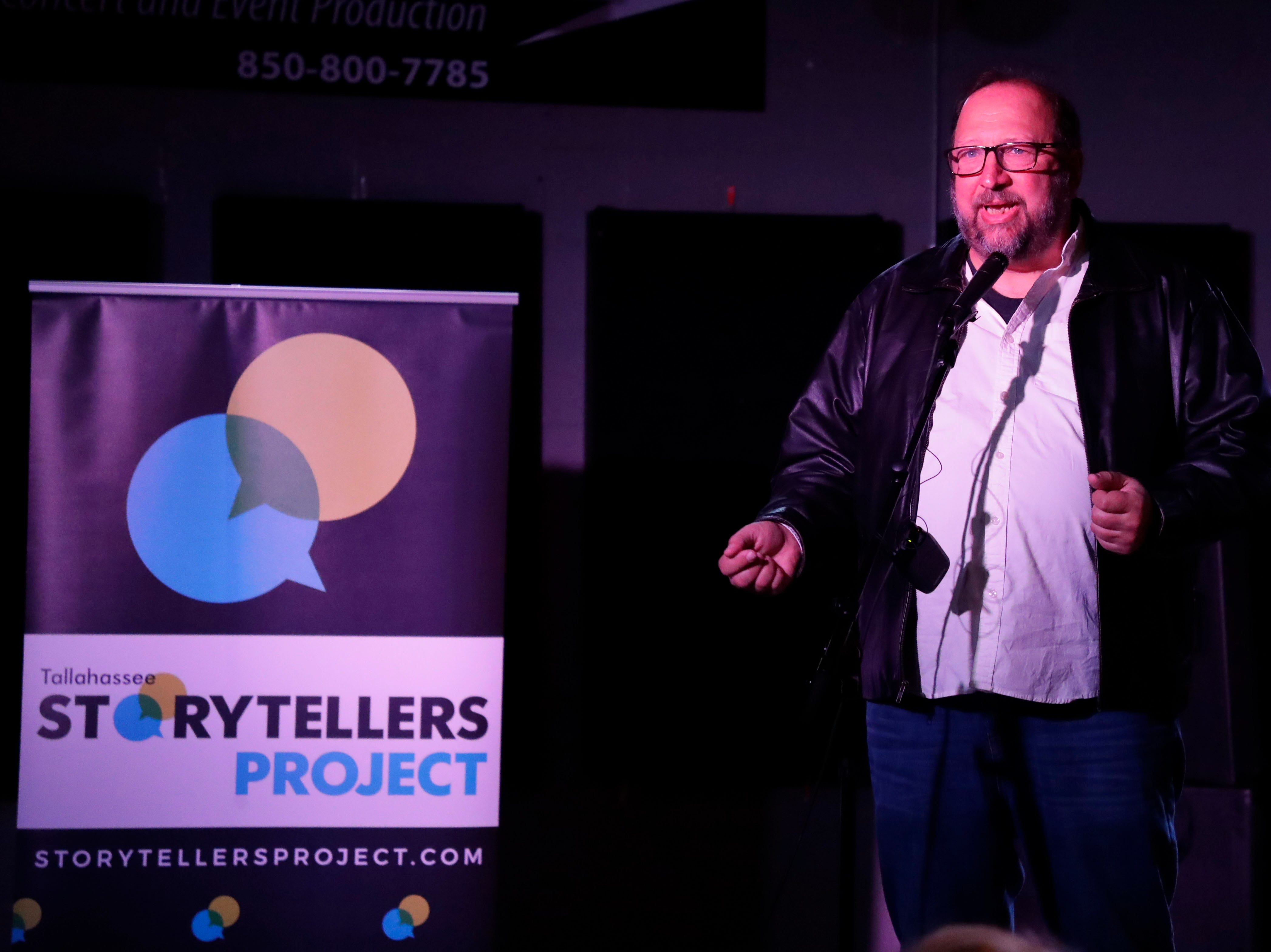 Jeff Schweers, investigative reporter for the Tallahassee Democrat, spoke about an experience he had with an ex-girlfriend and social media at Story Tellers, Tuesday Feb. 12, 2019.