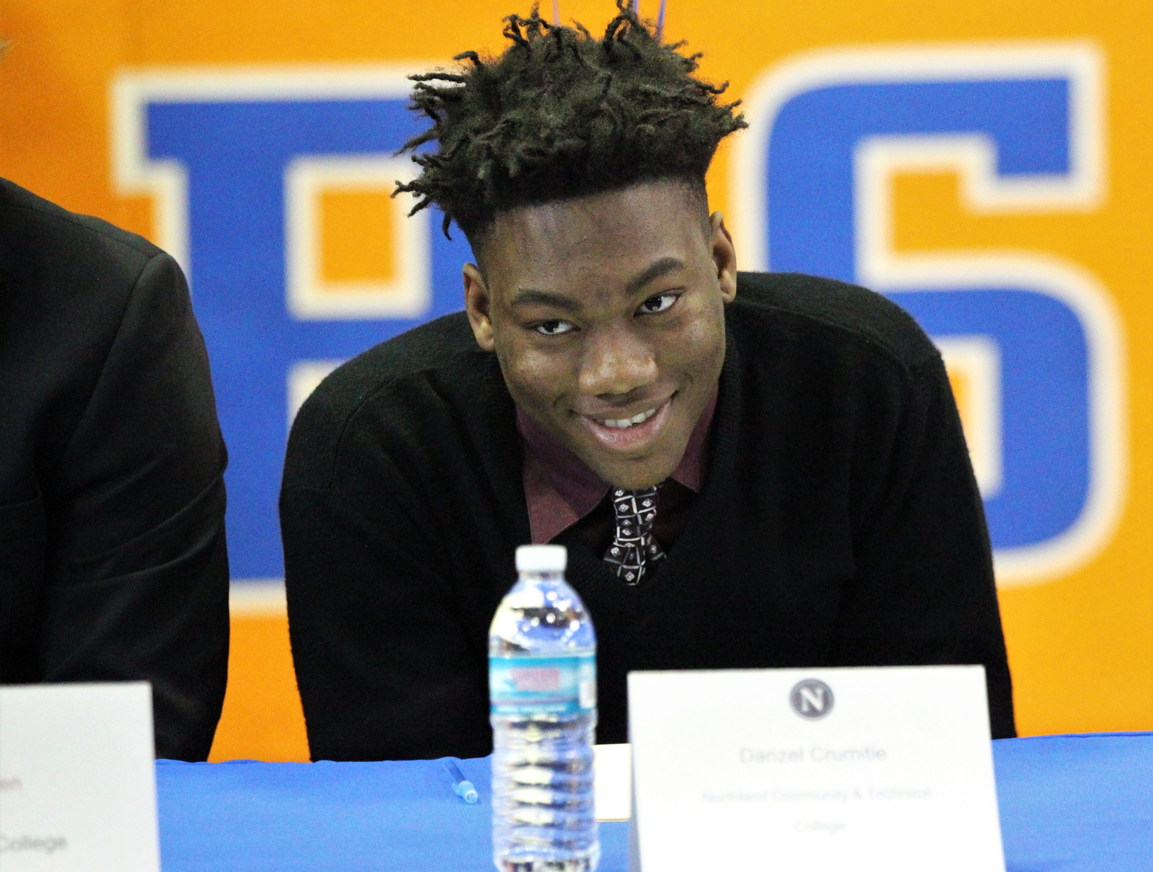 Jefferson County linebacker Danzel Crumitie, who signed with Northland College, smiles during Jefferson County's signing day ceremony on Feb. 13, 2019.