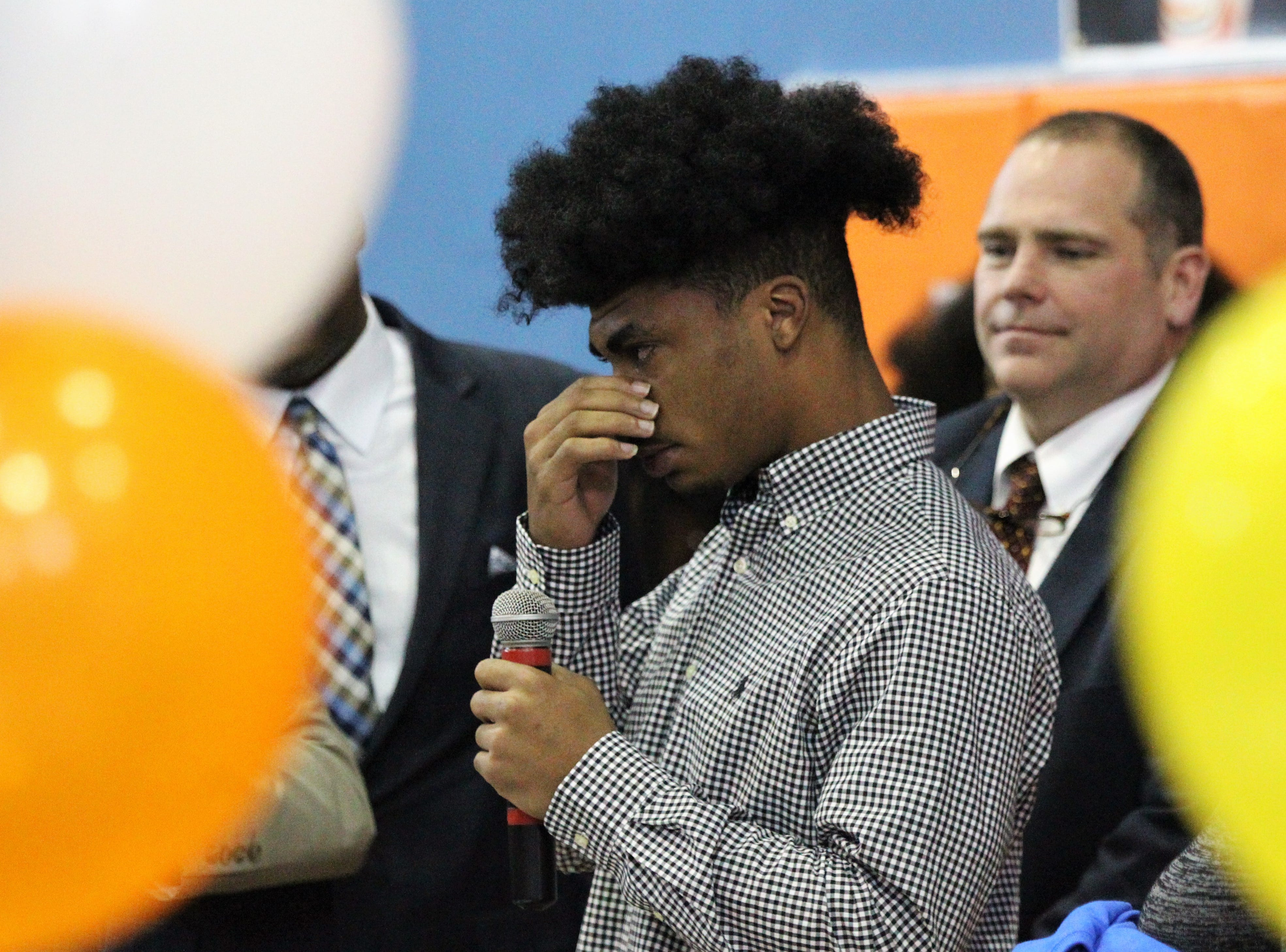 Jefferson County receiver Armon Williams gets emotional talking about a time spent in jail for a crime and how his coach Leroy Smith, Rev. Greg James, and state attorney Jack Campbell helped him get his life turned around. Williams signed with Fullerton College during Jefferson County's signing day ceremony on Feb. 13, 2019.
