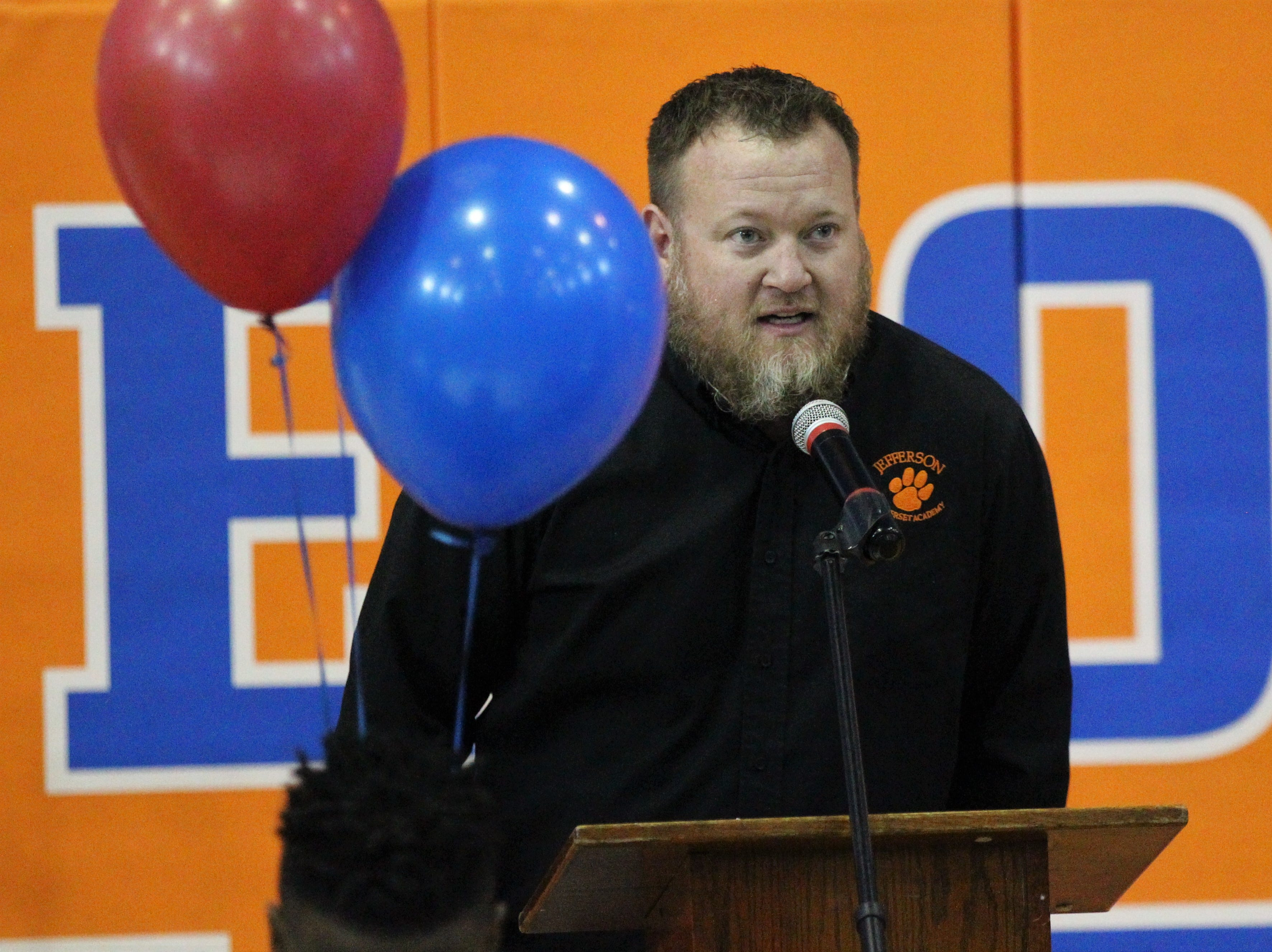 Jefferson Somerset principal Cory Oliver talks during Jefferson County's signing day ceremony on Feb. 13, 2019.