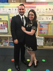 Kyle proposed to Kathryn in the elementary school room where they first met as kids.