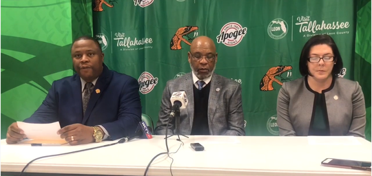 FAMU sports information director Vaughn Wilson (left), athletics director Dr. John Eason and compliance director Kendra Greene announced on Wednesday, Feb. 13, 2009 a postseason ban for men's basketball, golf and men's indoor/outdoor track and field due to low APR scores.