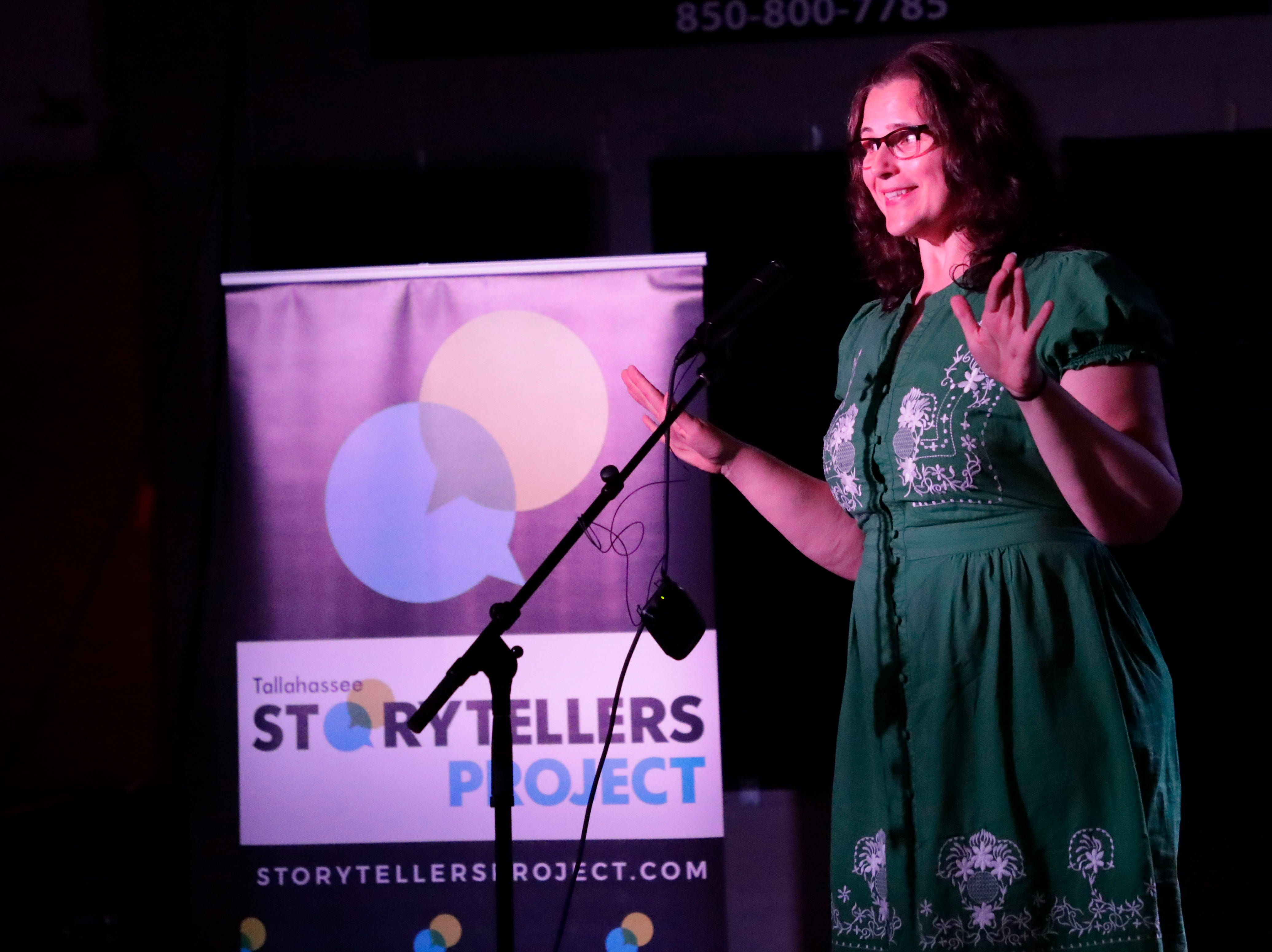 Holly Thompson, administrative services director for the Leon County Supervisor of Elections Office, tells the audience that attended the Story Tellers Project at the Wilbury how she is finding love in the digital era of dating, Tuesday Feb. 12, 2019.