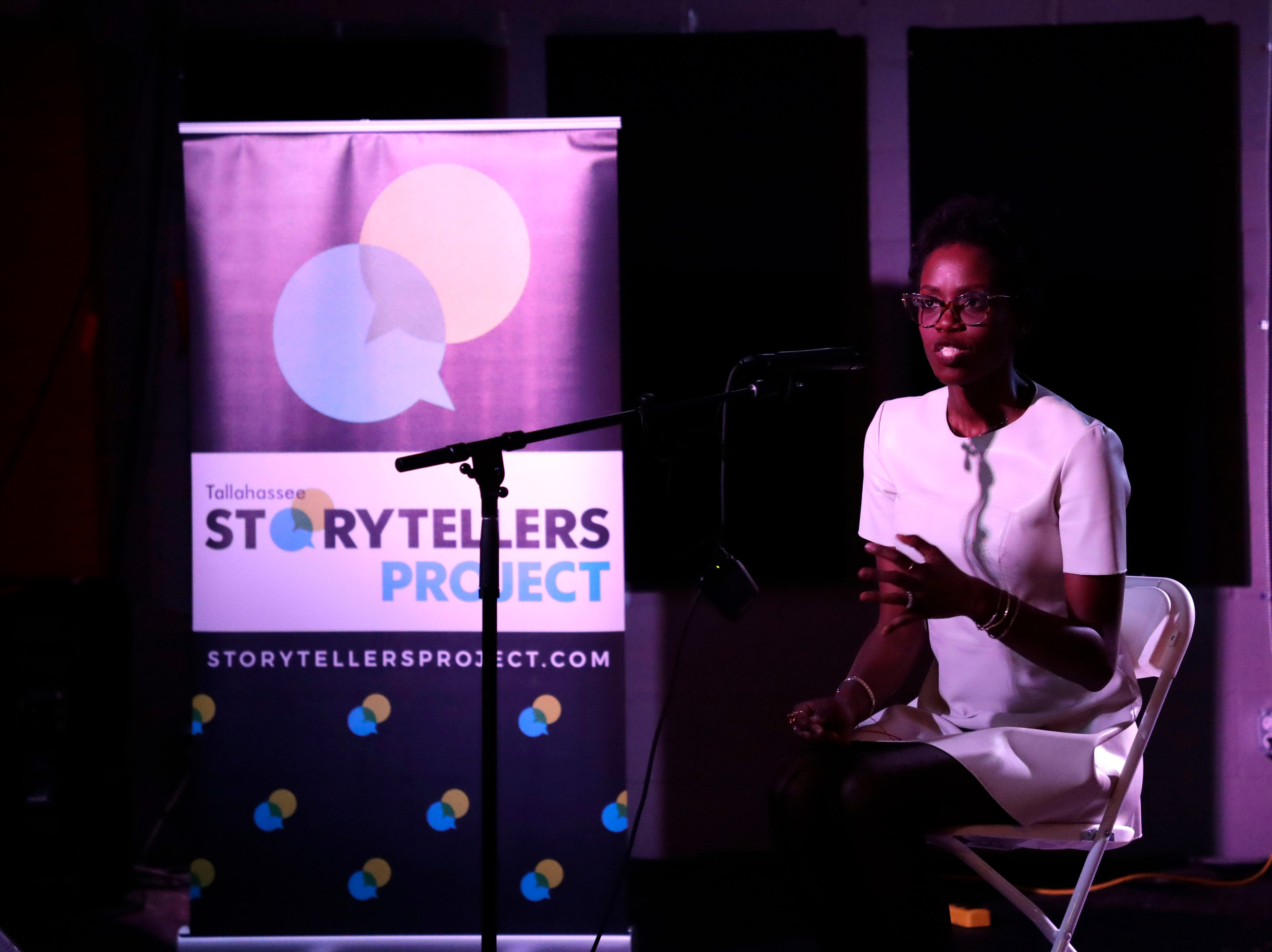 Ashley Smith, a public relations and marketing professional, talks about how she found the love of her life with the help of social media at Story Tellers, Tuesday Feb. 12, 2019.