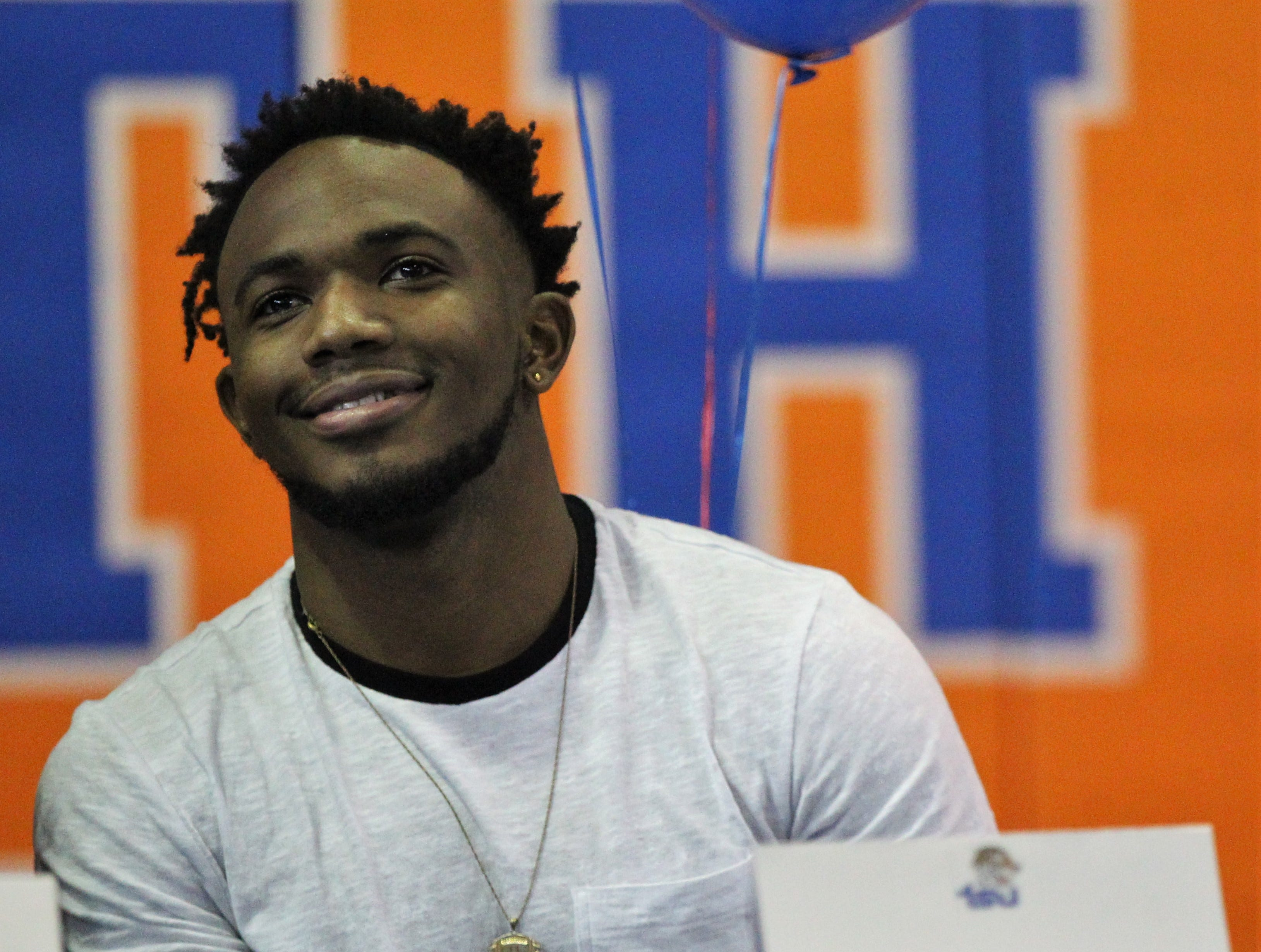 Jefferson County senior receiver Da'Shon Davis waits to sign with Tennessee State during Jefferson County's signing day ceremony on Feb. 13, 2019.