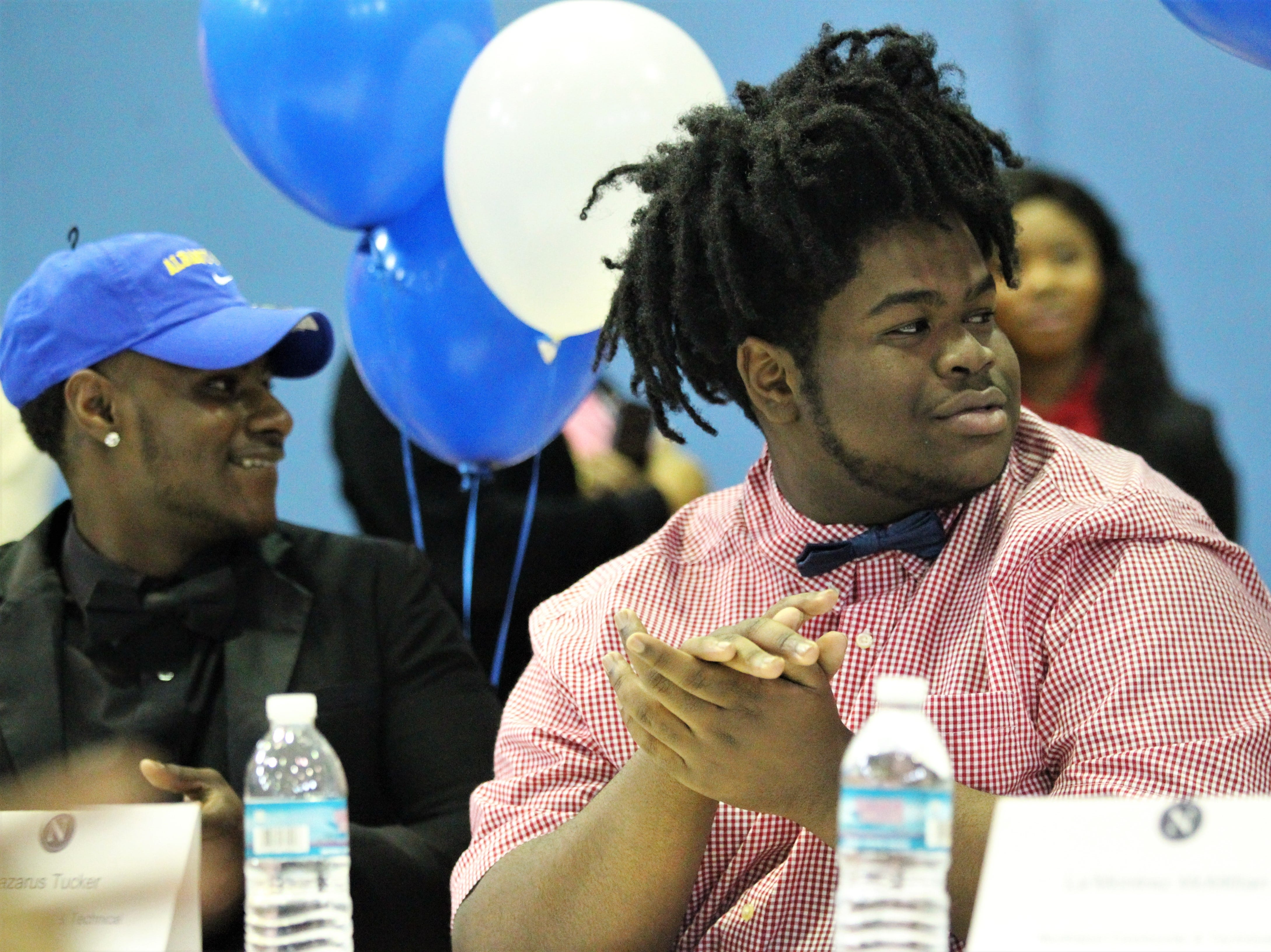 Jefferson County lineman Lazarus Tucker signed with Northland College during Jefferson County's signing day ceremony on Feb. 13, 2019.