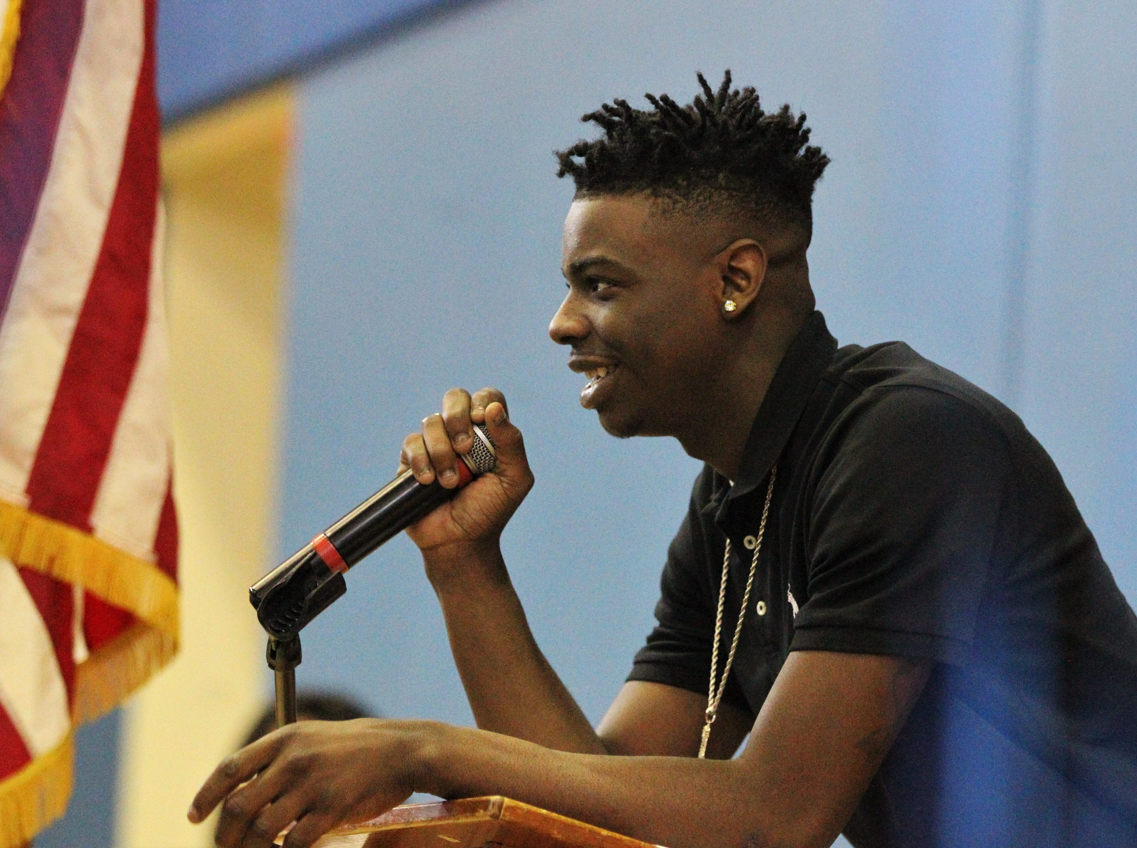 Jefferson County receiver Javion Patrick, who signed with Northland College, talks during Jefferson County's signing day ceremony on Feb. 13, 2019.