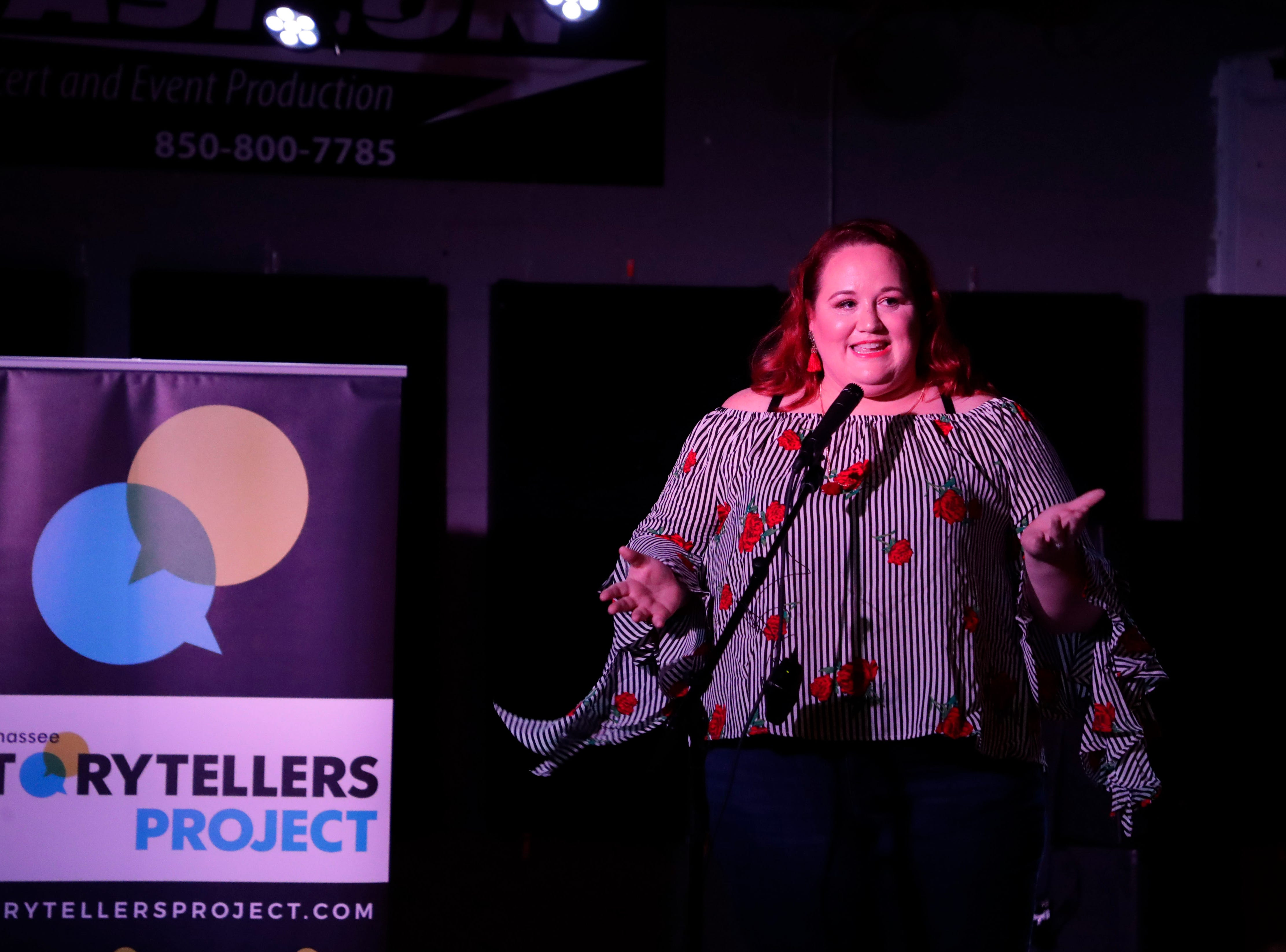 Mandy Bianchi, the executive director for the Epilepsy Association of the Big Bend, shares how she found love with OkCupid at the Story Tellers Project, Tuesday Feb. 12, 2019.
