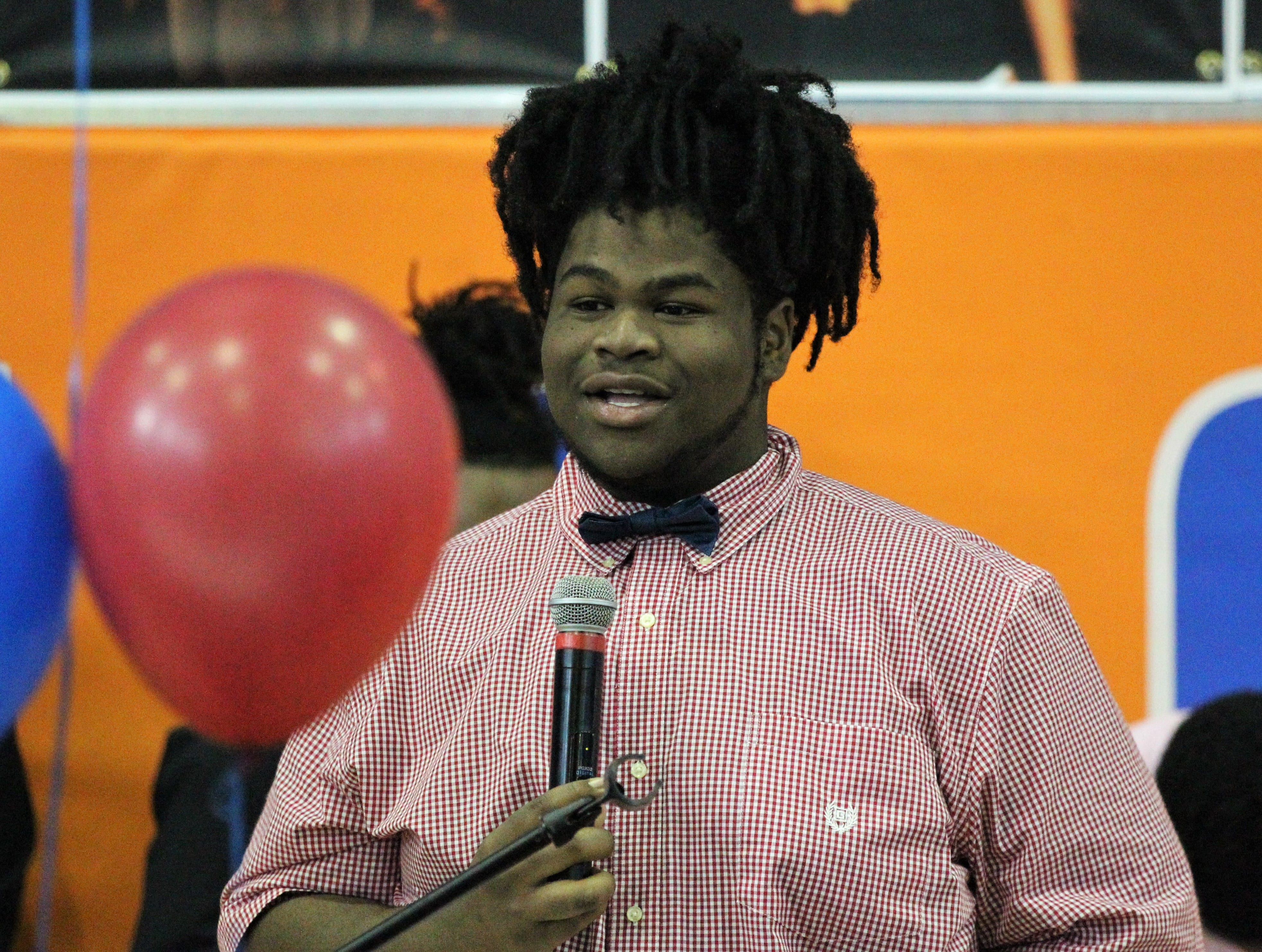 Jefferson County lineman Lazarus Tucker, who signed with Northland College, talks during Jefferson County's signing day ceremony on Feb. 13, 2019.