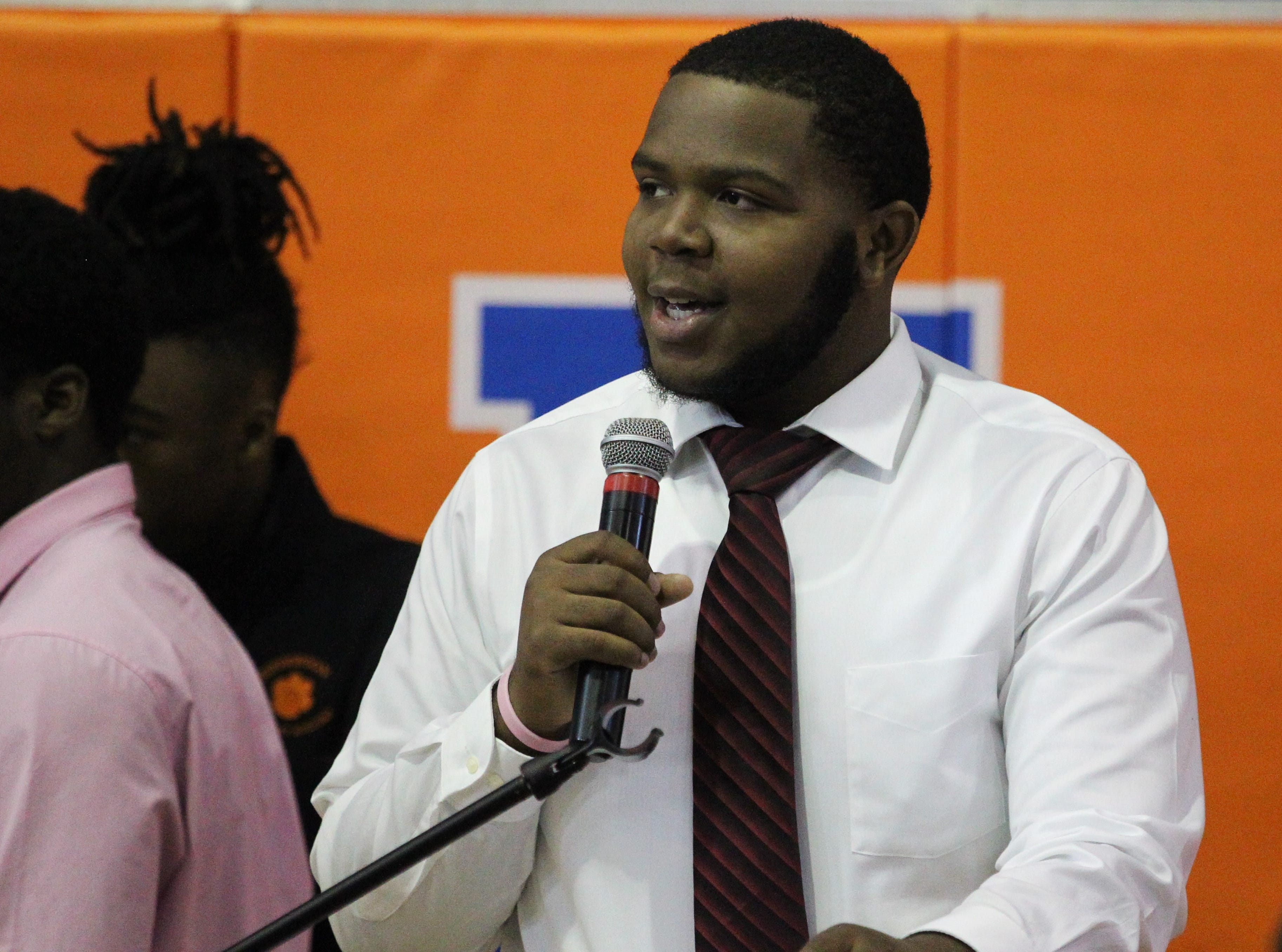 Jefferson County lineman Amantez Ford, who signed with Northland College, during Jefferson County's signing day ceremony on Feb. 13, 2019.