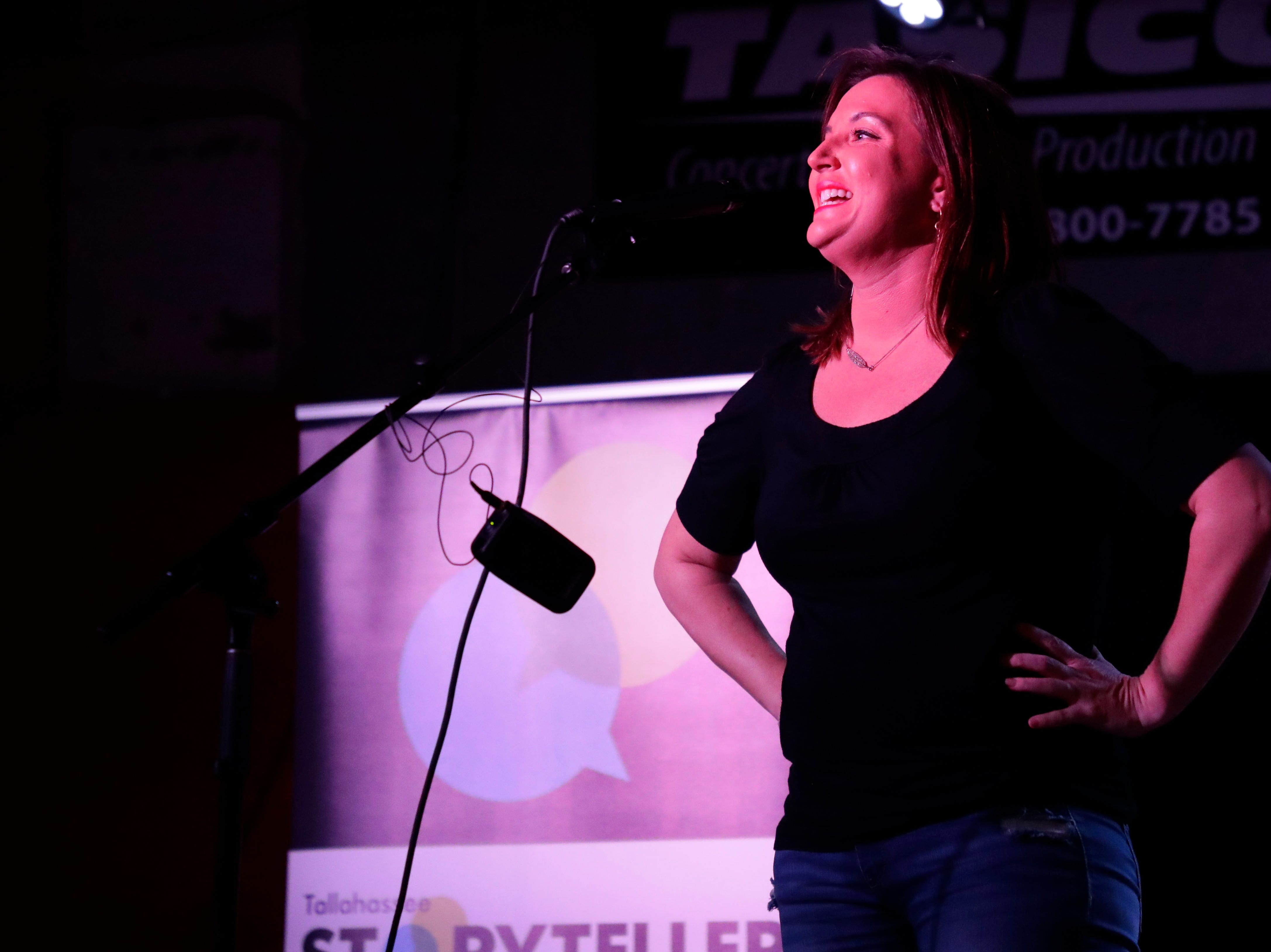 Chryssy Moor, founder of the Florida Autism Center, talks about her experience of dating in the digital age at Story Tellers, Tuesday Feb. 12, 2019.