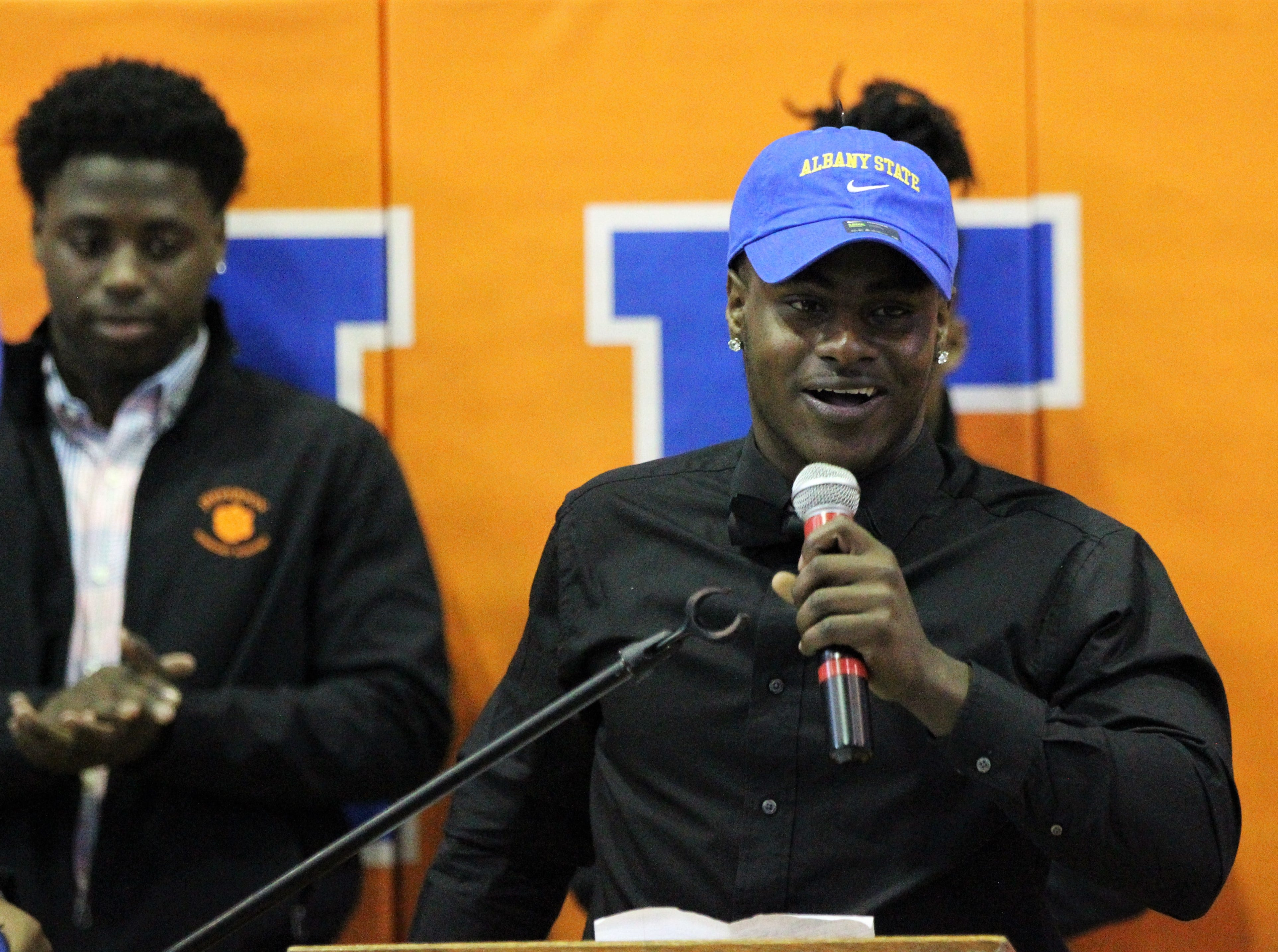Jefferson County defensive back Zhkyi Price, who signed with Albany State, talks during Jefferson County's signing day ceremony on Feb. 13, 2019.