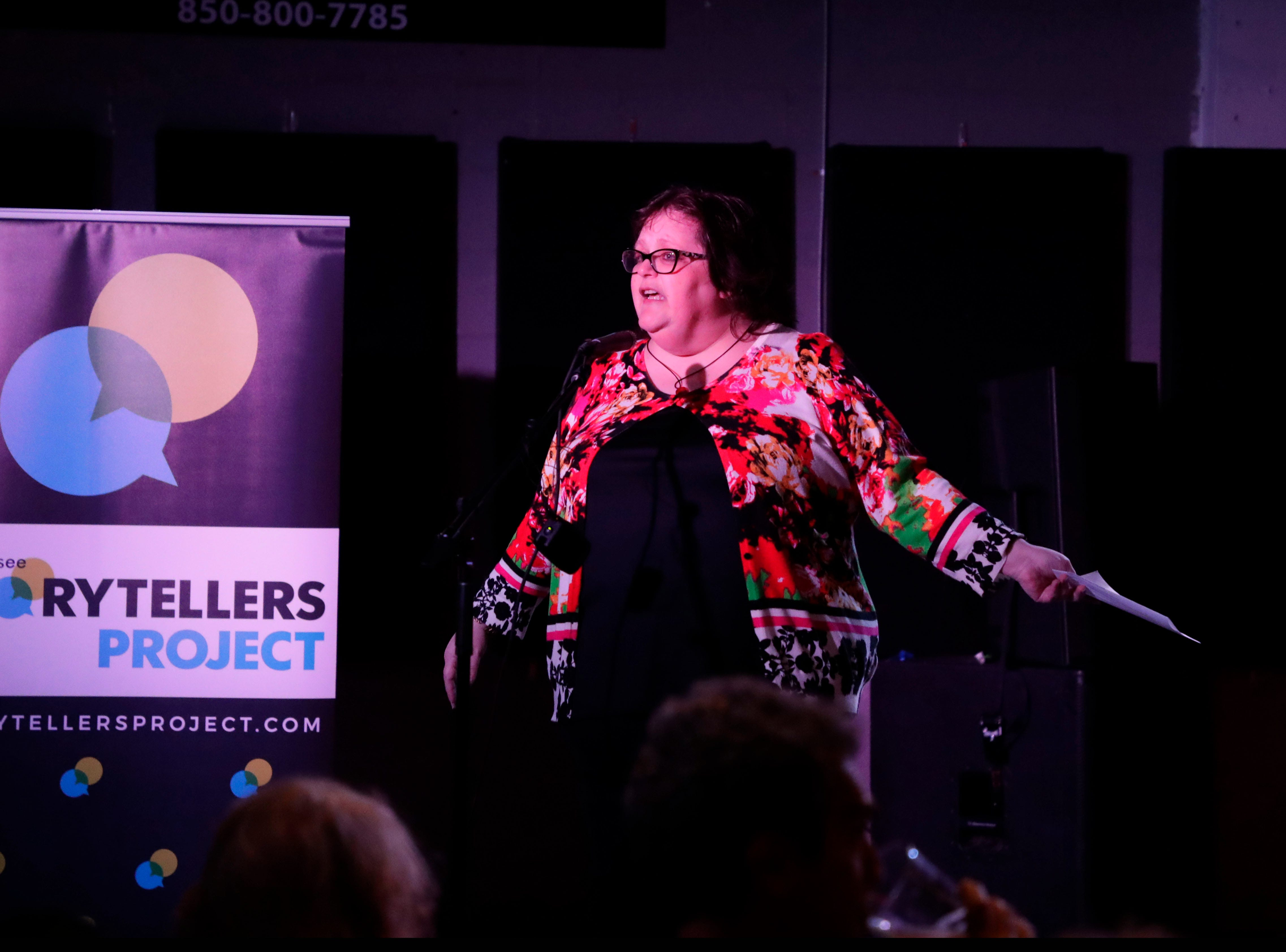 Randi Atwood, an editor at the Tallahassee Democrat, begins with a short welcome for the Story Tellers Project at the Wilbury, Tuesday Feb. 12, 2019.