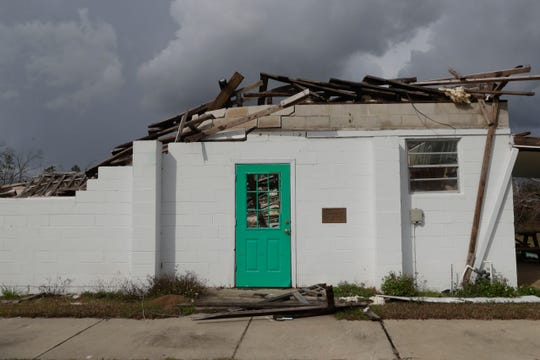 The Altha Community Center was left in total disarray by Hurricane Michael in Oct. 2018. The building no longer has a roof and most of the walls were demolished. Now, Tuesday Feb. 12, 2019, the building is untouched since the damage was done.