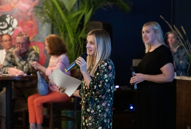 """Eve Samples, the newly appointed opinion and engagement editor for USA TODAY Network-Florida, speaks at a Feb. 12, 2019, screening of the Florida Voices documentary """"A State in Transition"""" at Ground Floor Farm in Stuart."""