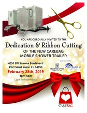 CareBag Inc., an organization dedicated to transforming the lives of homeless on the Treasure Coast, will debut its new mobile shower unit at a ribbon cutting and dedication ceremony from 4 to 5 p.m. Feb. 28 at 4051 S.W. Savona Blvd., Port St. Lucie.