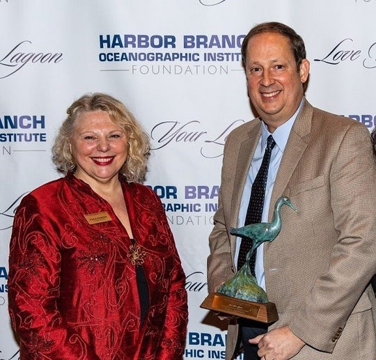 Love Your Lagoon's 2019 Leadership and Achievement Award Honoree was former Senate President Joe Negron, pictured with Katha Kissman, president and CEO of the Harbor Branch Oceanographic Institute Foundation.