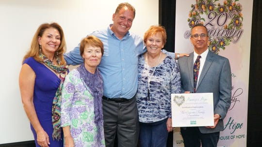 The Pedersen Family Foundation received a certificate of appreciation for several years of support for the Hearts of Hope Luncheon. PIctured are, from left, Elaine Matts, Deborah Lovequist, Jeffrey Pedersen, Gail Pedersen Pfister and Rob Ranieri.