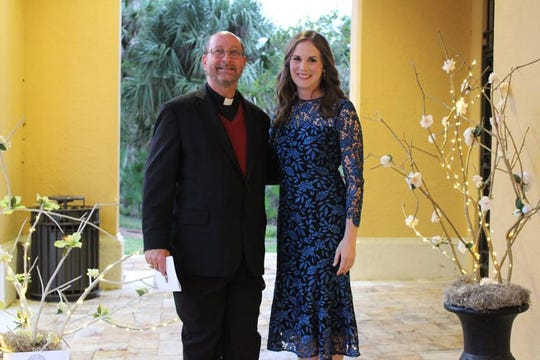 "John Carroll High School President Rev. Thomas E. Barrett and Principal Corey Heroux at ""A Royal Affair"" on Jan. 26 at The Promenade on the River in Port St. Lucie."