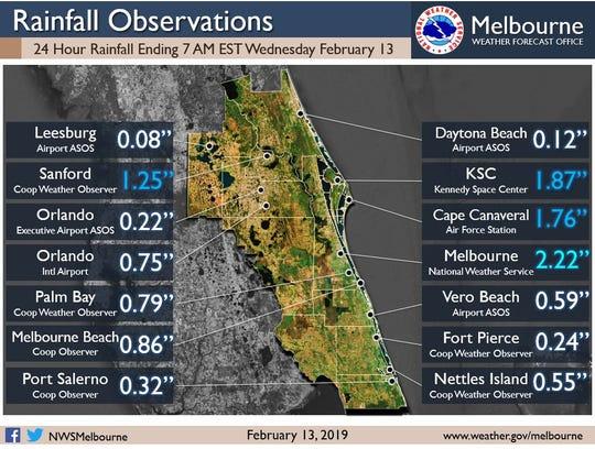 24-hour rainfall totals Feb. 13, 2019.