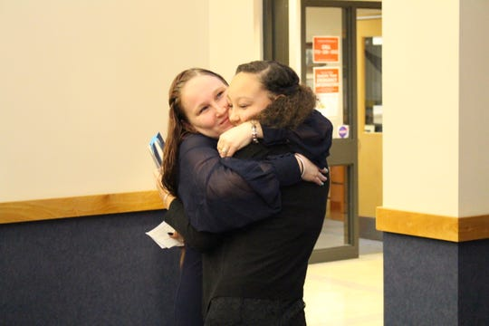 Maleah Rada, right, gets a hug from her mom after delivering her Youth of the Year speech at the Richardson Center at the Indian River State College Mueller Campus on Jan. 31.