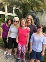 Sunday Strong athletes are excited to participate in Jungle Club's Zumba Class starting February 15. From Left to Right: Anne Louise Skalaki, Maria Colontrelle, Lacy Warren, Trish Torre (back), and Jennifer McAllister.