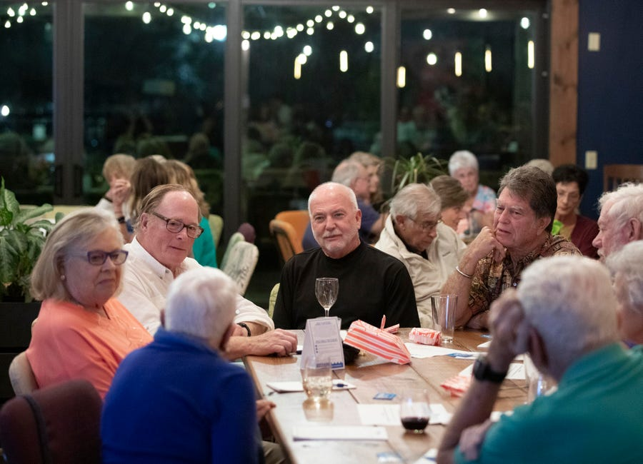 """It's greed that destroys the environment and when Florida loses its environment, it loses its economy,"" said Bill Martz (center), of Port St. Lucie, who discusses water quality during TCPalm's inaugural Documentary & Drinks event on Tuesday, Feb. 12, 2019, at Ground Floor Farm in Stuart. They showed the 24-minute film, ""A State in Transition,"" which grew out of TCPalm's Florida Voices project. Visuals journalist Leah Voss and opinion/audience engagement editor Eve Samples interviewed 22 Floridians from across the state about the issues most important to them during this crucial time in Florida's history. The watch party included time for questions and community conversation."