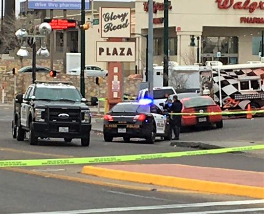 El Paso police investigate a brawl on Feb. 10 outside Profe Cantina bar in the Cincinnati Avenue Entertainment District.