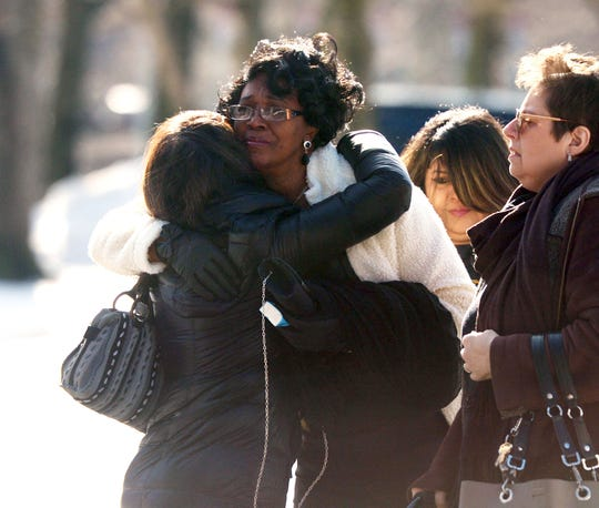 Friends and family of homicide victim Valerie Reyes attend her funeral mass at St. Gabriel's Church in New Rochelle, N.Y., on Tuesday, Feb. 12, 2019. Reyes' body was found in a suitcase in Greenwich, Conn., on Tuesday, Feb. 5. Police arrested Javier da Silva, of Queens, N.Y., in connection with the killing.