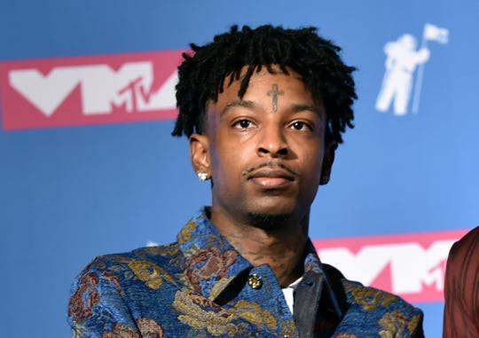 In this Aug. 20, 2018, file photo, 21 Savage poses in the press room at the MTV Video Music Awards at Radio City Music Hall in New York. A lawyer for the rapper, whose given name is She'yaa Bin Abraham-Joseph, said Tuesday that he has been granted bond for release from federal immigration custody.