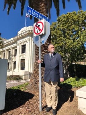 Jim Monahan, who recently stepped down from the Ventura City Council after 41 years, now has a street named after him.