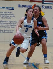 Redwood's Kalista Gamez drives the lane during the Central Section Division II first-round playoff game Tuesday in Visalia.